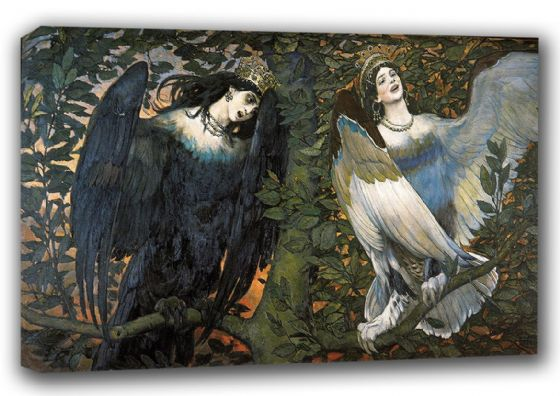 Vasnetsov, Viktor: Sirin and Alkonost - The Birds of Joy and Sorrow. Fine Art Canvas. Sizes: A3/A2/A1 (00584)